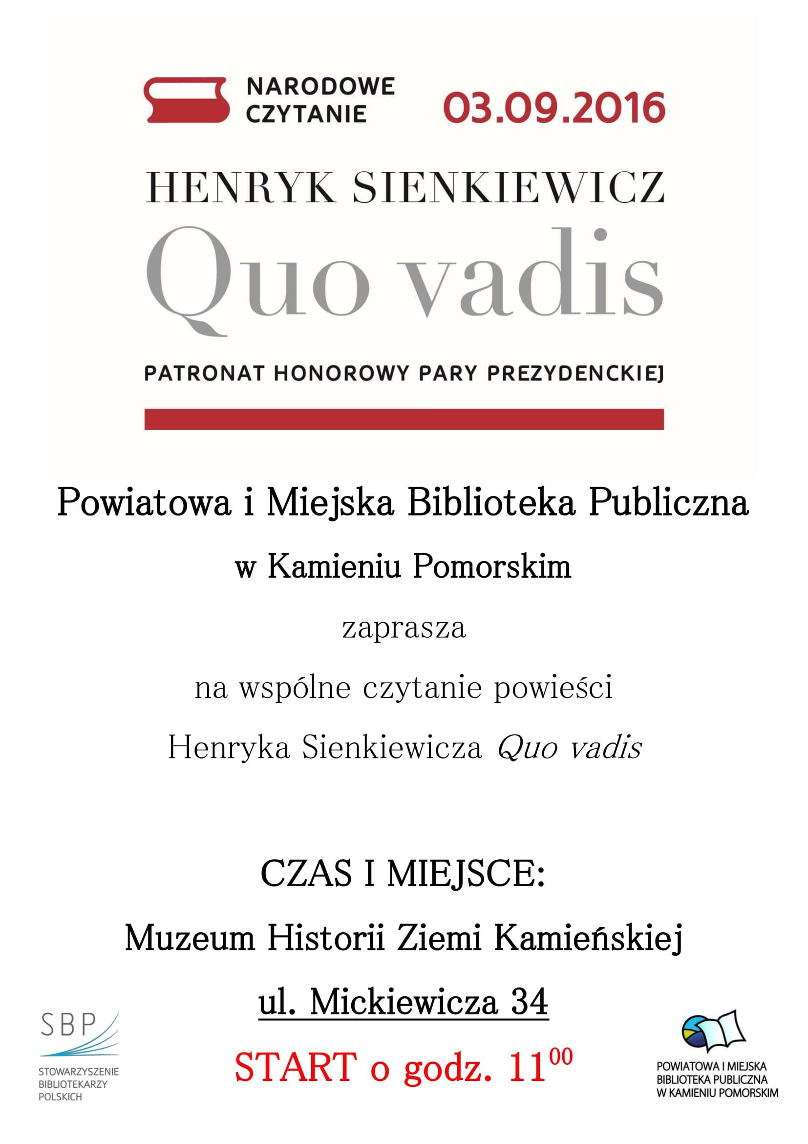 """""""Quo vadis"""" Henryka Sienkiewicza lekturą Narodowego Czytania w 2016 roku."""