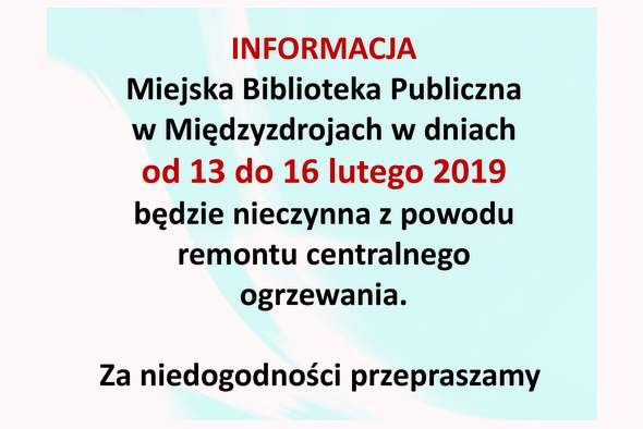 Pilna informacja o zamknięciu biblioteki