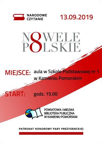 Powiatowa i Miejska Biblioteka Publiczna w Kamieniu Pomorskim zaprasza na Narodowe Czytanie 2019.