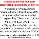 Miejska Biblioteka Publiczna w Międzyzdrojach zamknięta do odwołania!