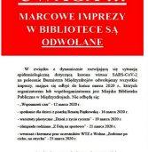 Informacja o odwołanych marcowych imprezach w bibliotece
