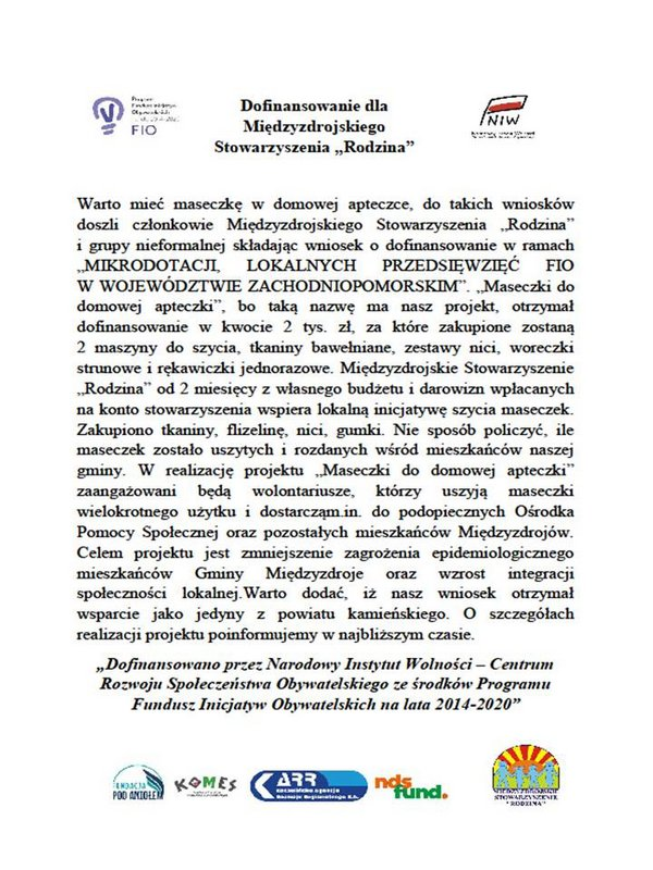 """Dofinansowanie dla Międzyzdrojskiego Stowarzyszenia """"Rodzina"""""""