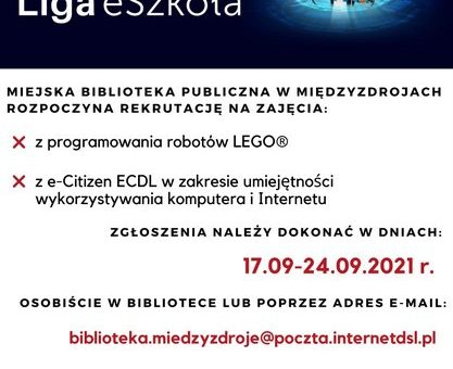 Rekrutacja na zajęcia z ECDL i Lego Spike w ramach programu Liga eSzkoła